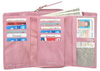 Tresori Women's Real Leather RFID Data Protected Trifold Wallet with Zip coin Pocket