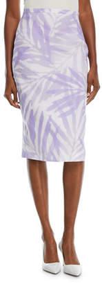 Michael Kors Floral Stretch-Cady Linen Pencil Skirt