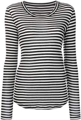 Closed long-sleeve striped T-shirt
