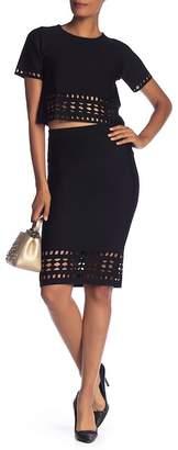 Rachel Roy Laser Cutout Skirt
