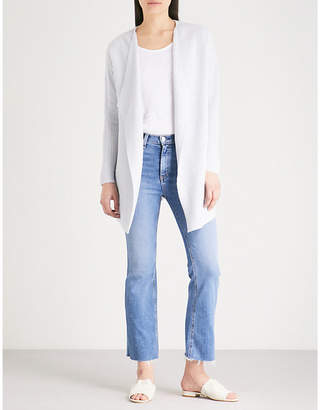 The White Company Ribbed waterfall long cardigan