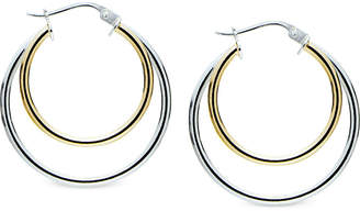 Giani Bernini Two-Tone Double Hoop Earrings in Sterling Silver & 18k Gold-Plate, Created for Macy's