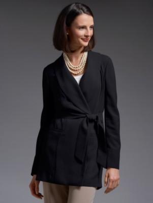 High-twist wool wrap jacket