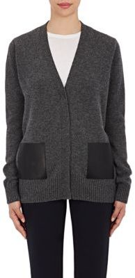 Barneys New York Women's Leather-Pocket Cardigan-DARK GREY $795 thestylecure.com