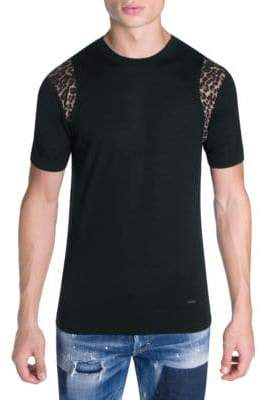 DSQUARED2 Leopard Print Trim Cotton Tee