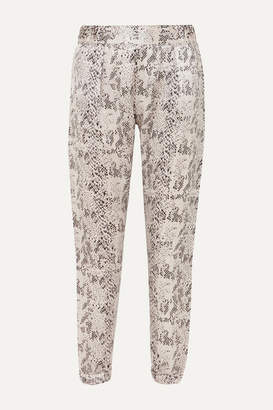 ATM Anthony Thomas Melillo Snake-print Silk-charmeuse Track Pants