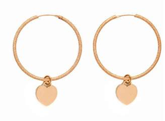 Assya Rose Gold Plated Shimmer Hoop Earrings with Heart