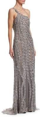 Naeem Khan One-Strap Beaded Gown