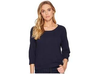 Three Dots Slub Jersey Crop Sweatshirt Women's Sweatshirt