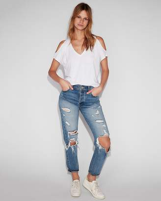 Express One Eleven V-Neck Cold Shoulder London Tee