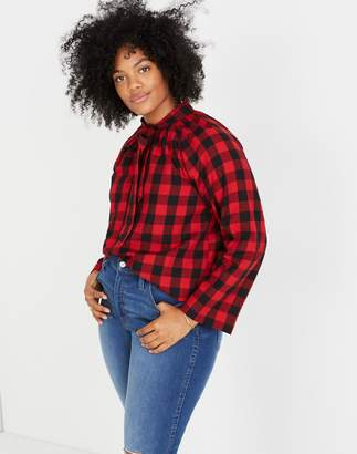 Madewell Tie-Neck Popover Shirt in Buffalo Check