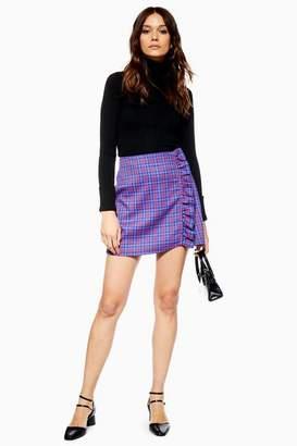 Topshop Womens Check Frill Mini Skirt