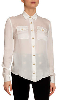 Balmain Silk 2-Pocket Button-Front Blouse