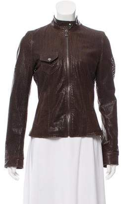 Dolce & Gabbana Leather Perforated Moto Jacket