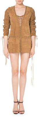 Saint Laurent Lace-Up Long-Sleeve Suede Dress