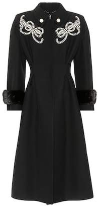 Fendi Embellished wool and silk coat