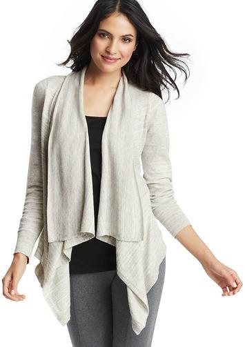 LOFT Dusty Stripe Cotton Open Cardigan