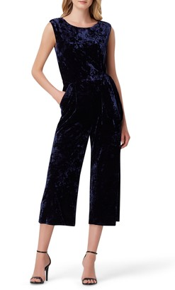 Tahari Crushed Velvet Crop Jumpsuit
