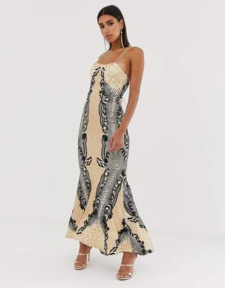 df3ddf9f Bariano embellished patterned sequin fishtail maxi dress with strappy back  in mutli
