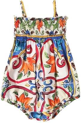 Dolce & Gabbana Maiolica Print Cotton Poplin Bodysuit