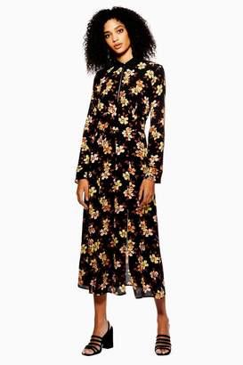 Topshop Autumn Floral Print Midi Skater Dress