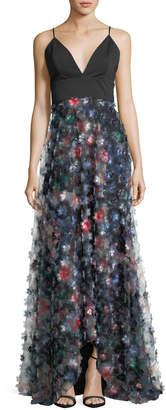 Badgley Mischka 3D Floral Embellished A-Line Gown