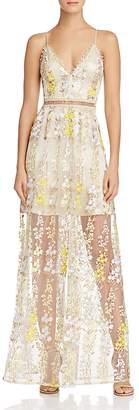 Aqua Beaded Embroidered Maxi Dress - 100% Exclusive