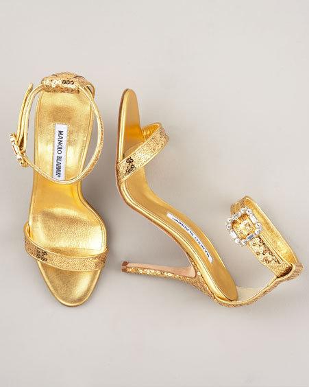 Manolo Blahnik Ankle-Wrap Sequined Sandal