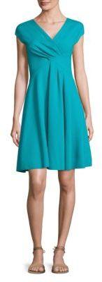 Armani Collezioni Ruched V-Neck Dress