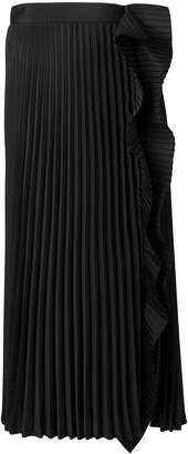 Miu Miu pleated midi skirt with ruffle detail