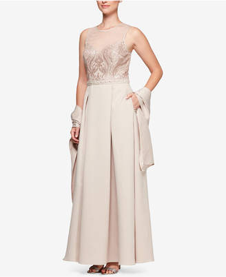 Alex Evenings Sequined Tulle Illusion Gown with Shawl