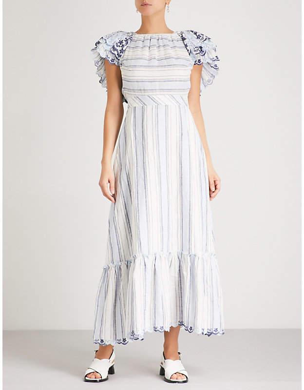 GUL HURGEL Ruffled off-the-shoulder linen midi dress