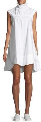 Carven Light Poplin Smocked-Collar Mini Dress