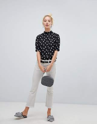 Fashion Union high neck blouse in spot rose print