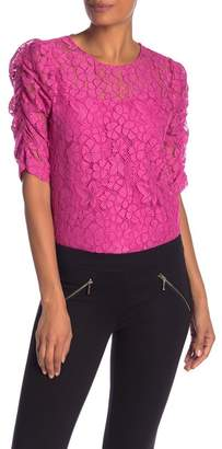 Nanette Lepore NANETTE Lace Shirred Elbow Sleeve Top