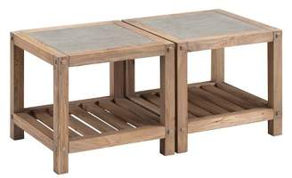 Aiden Lane Caverly Reclaimed Wood Bunching Cocktail Table Set Aged Natural With Cement Gray