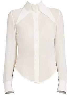 Saint Laurent Women's Oversized Collar Sheer Silk Button-Down Blouse