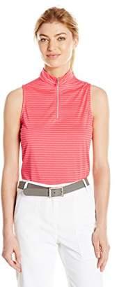 PGA TOUR Women's Sleeveless Motionflux Tonal Stripe 1/4 Zip Mock Top
