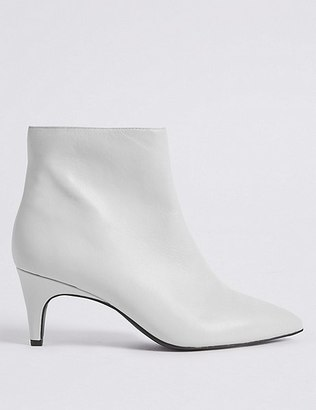 Marks and Spencer Wide Fit Leather Kitten Ankle Boots
