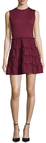 RED ValentinoRED Valentino Sleeveless Jewel-Neck Tiered Mini Dress