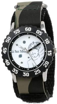EWatchFactory Little Prince Kids' W000810 Stainless Steel Time Teacher Black Numberals Bezel Green Camo Velcro Strap Watch