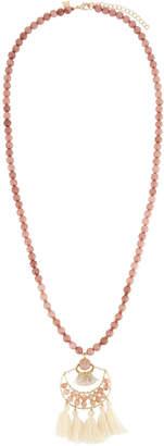 Panacea Peach Stone Beaded Necklace w/ Ivory Tassel