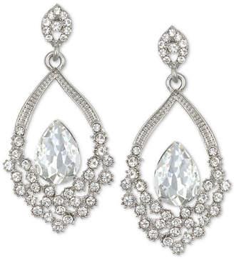 Badgley Mischka Silver-Tone Crystal Open Drop Earrings