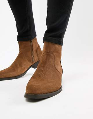 Asos DESIGN stacked heel western boots in tan suede with stitch detail