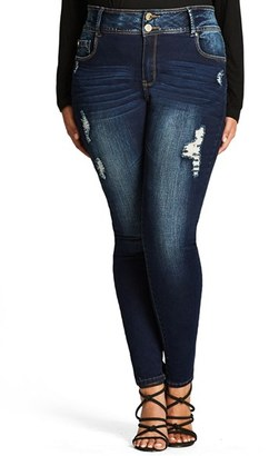 Plus Size Women's City Chic Ripped Skinny Jeans $89 thestylecure.com