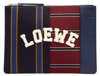 Loewe Varsity Medium Leather Pouch - Mens - Navy Multi