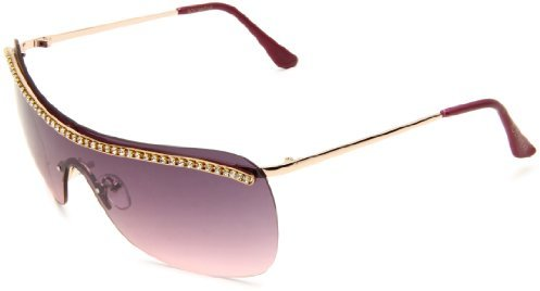 Rocawear Women's R410 RGLD Shield Sunglasses,Rose Gold Frame/Purple Gradient Lens,One Size