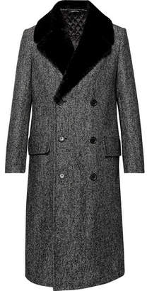 Dunhill Double-Breasted Shearling-Trimmed Herringbone Wool-Blend Coat