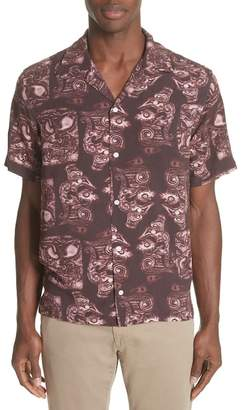 Saturdays NYC Canty Pendant Print Camp Trim Fit Shirt