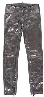 Dsquared2 Metallic Skinny Jeans $130 thestylecure.com